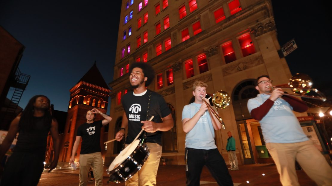 Band playing outside of Griest building